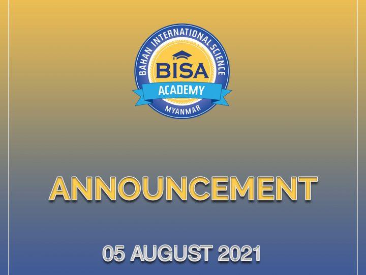 Announcement (05 August 2021)